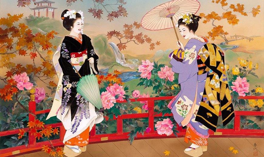Пионы в японской живописи