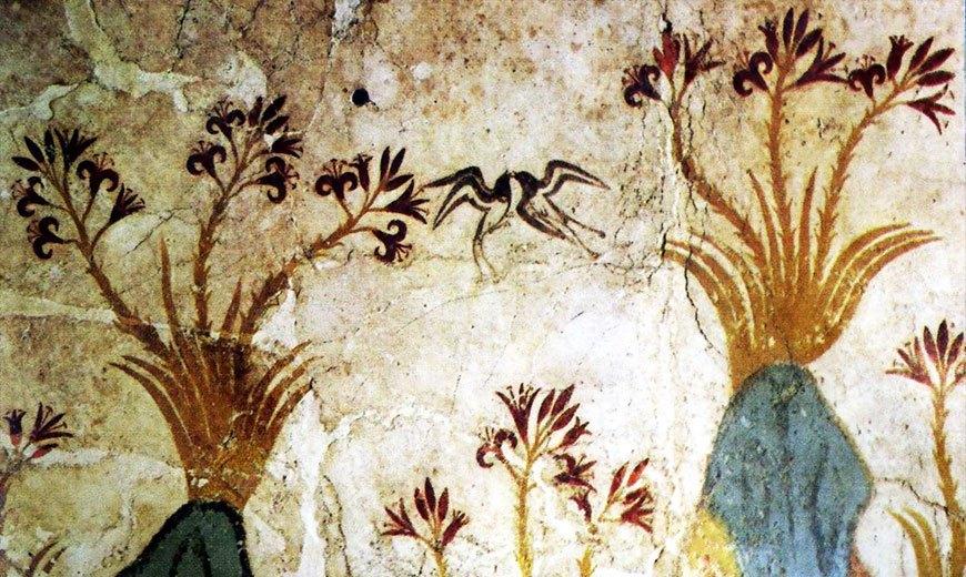 Старинная фреска с лилиями