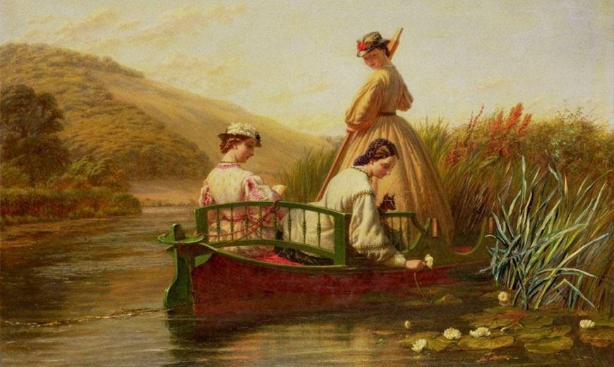 Девушки на пруду с лилиями