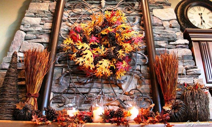 Осенний венок в интерьере
