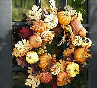 Осенний венок с тыквами