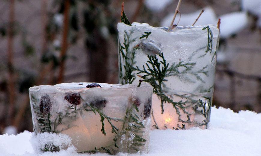 Ледяные подсвечники для сада