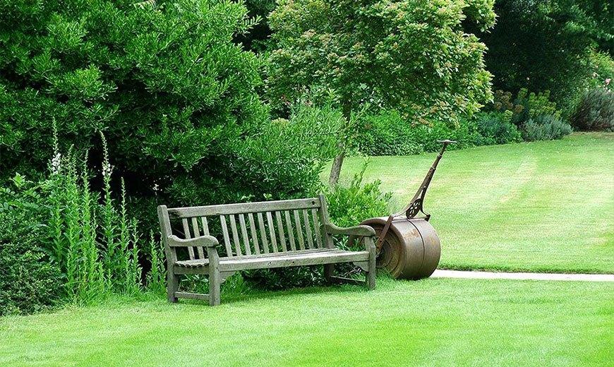Деревянная скамейка на газоне