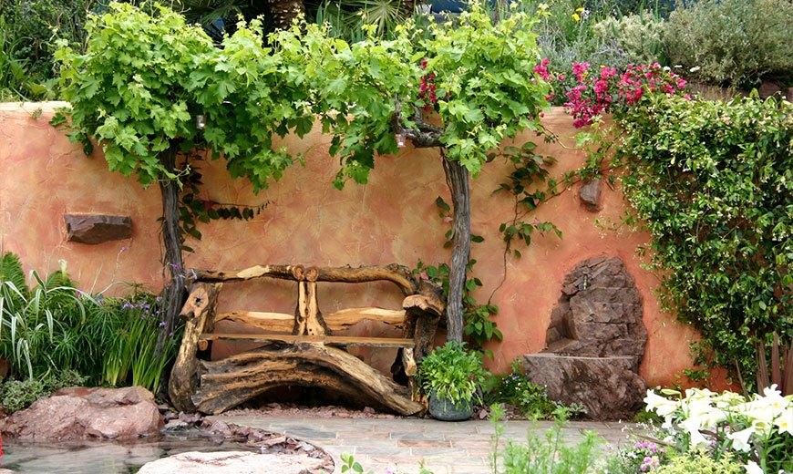 Деревенская садовая скамейка