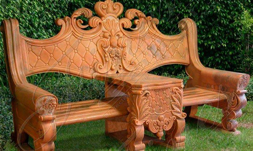 Садовая скамейка с резьбой