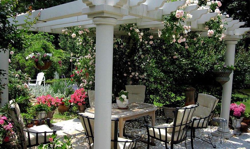 Пергола в розовом саду